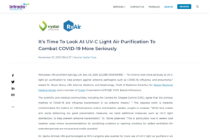 Intrado GlobeNewsire: It's Time To Look At UV-C Light Air Purification To Combat COVID-19 More Seriously