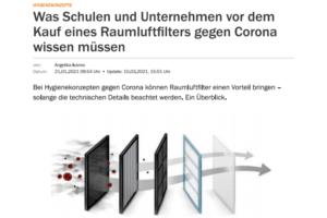 Handelsblatt: Was Schulen und Unternehmen vor dem Kauf eines Raumluftfilters gegen Corona wissen müssen.