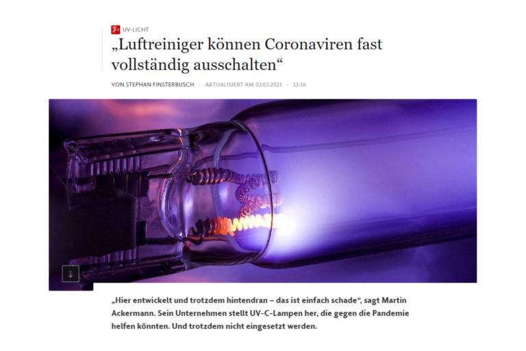"""UV-Licht: """"Luftreinger können Coronaviren fast vollständig ausschalten"""""""