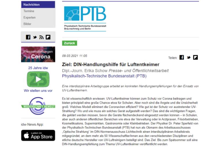 idw - Informationsdienst Wissenschaft: DIN-Handlungshilfe für Luftentkeimer