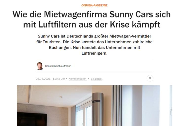 Handelsblatt: Wie die Mietwagenfirma Sunny Cars sich mit Luftfiltern aus der Krise kämpft | Sunny Air Solutions
