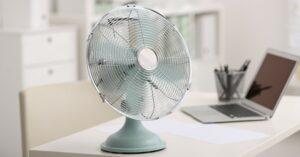 Modern,Electric,Fan,On,Table,In,Office