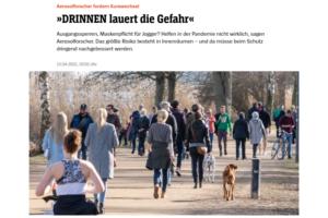 """Spiegel Wissenschaft: Aerosolforscher fordern Kurswechsel: """"Drinnen lauert die Gefahr"""""""